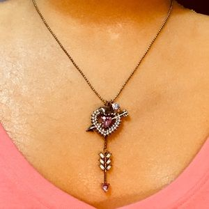 Betsy Johnson heart with arrows necklace